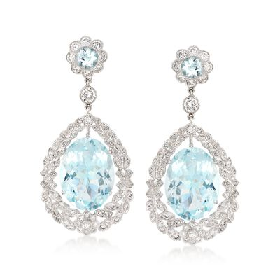 C. 2000 Vintage 25.00 ct. t.w. Aquamarine and 2.65 ct. t.w. Diamond Drop Earrings in 18kt White Gold, , default
