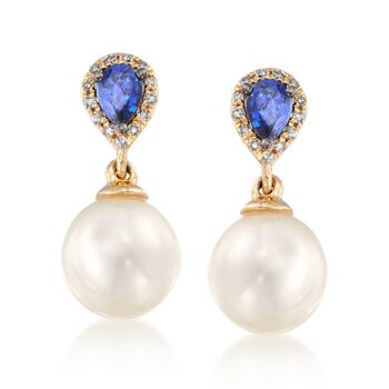 .30 ct. t.w. Sapphire and 7.5-8mm Cultured Pearl Earrings With Diamonds in 14kt Yellow Gold, , default