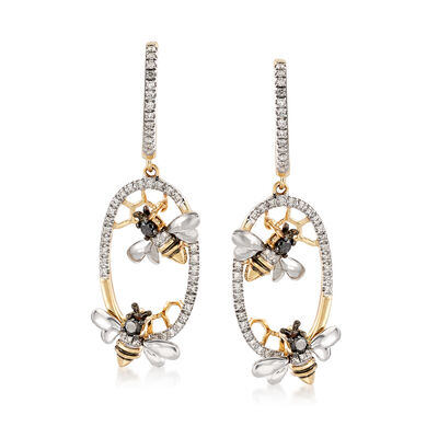 .48 ct. t.w. Black and White Diamond Bee Drop Earrings in 14kt Yellow Gold, , default