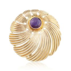 C. 1970 Vintage Cartier 2.75 Carat Amethyst Pin in 18kt Yellow Gold , , default