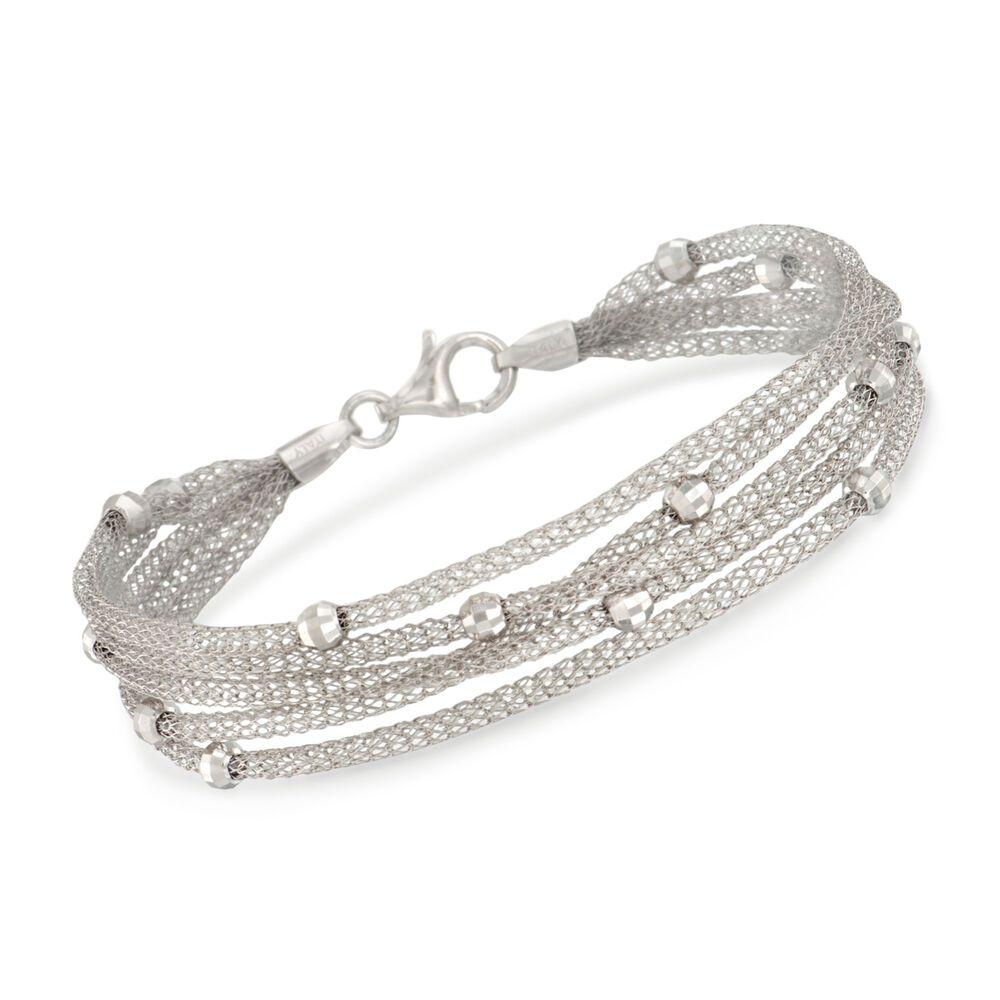 Italian Sterling Silver Five Strand Beaded Mesh Bracelet Default