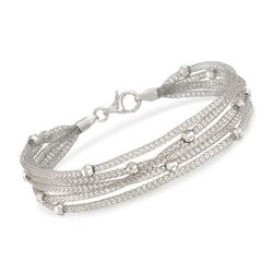 Italian Sterling Silver Five-Strand Beaded Mesh Bracelet, , default