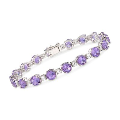 12.00 ct. t.w. Amethyst and 1.80 ct. t.w. White Topaz Tennis Bracelet in Sterling Silver, , default