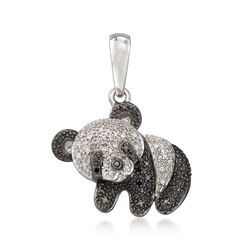 .15 ct. t.w. Black and White Panda Bear Pendant in Sterling Silver, , default