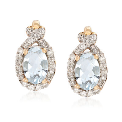 .70 ct. t.w. Aquamarine and .21 ct. t.w. Diamond Drop Earrings in 14kt Yellow Gold, , default