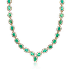 C. 1980 Vintage 24.50 ct. t.w. Emerald and 8.50 ct. t.w. Diamond V-Necklace in 14kt Yellow Gold, , default