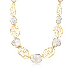 "Bezel-Set Cultured Baroque Pearl and 18kt Gold Over Sterling Free-Form Open Station Necklace. 18"", , default"