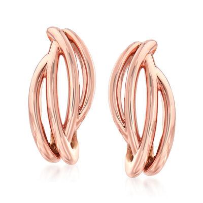 14kt Rose Gold Open-Space Twist Earrings, , default