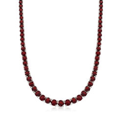 Graduated 50.00 ct. t.w. Garnet Tennis Necklace With Sterling Silver , , default