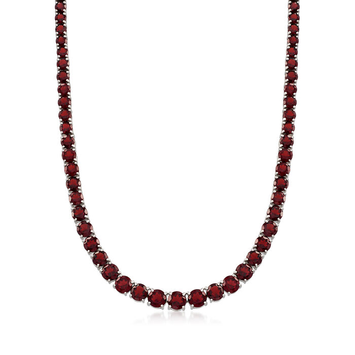 "Graduated 50.00 ct. t.w. Garnet Tennis Necklace with Sterling Silver. 18"", , default"