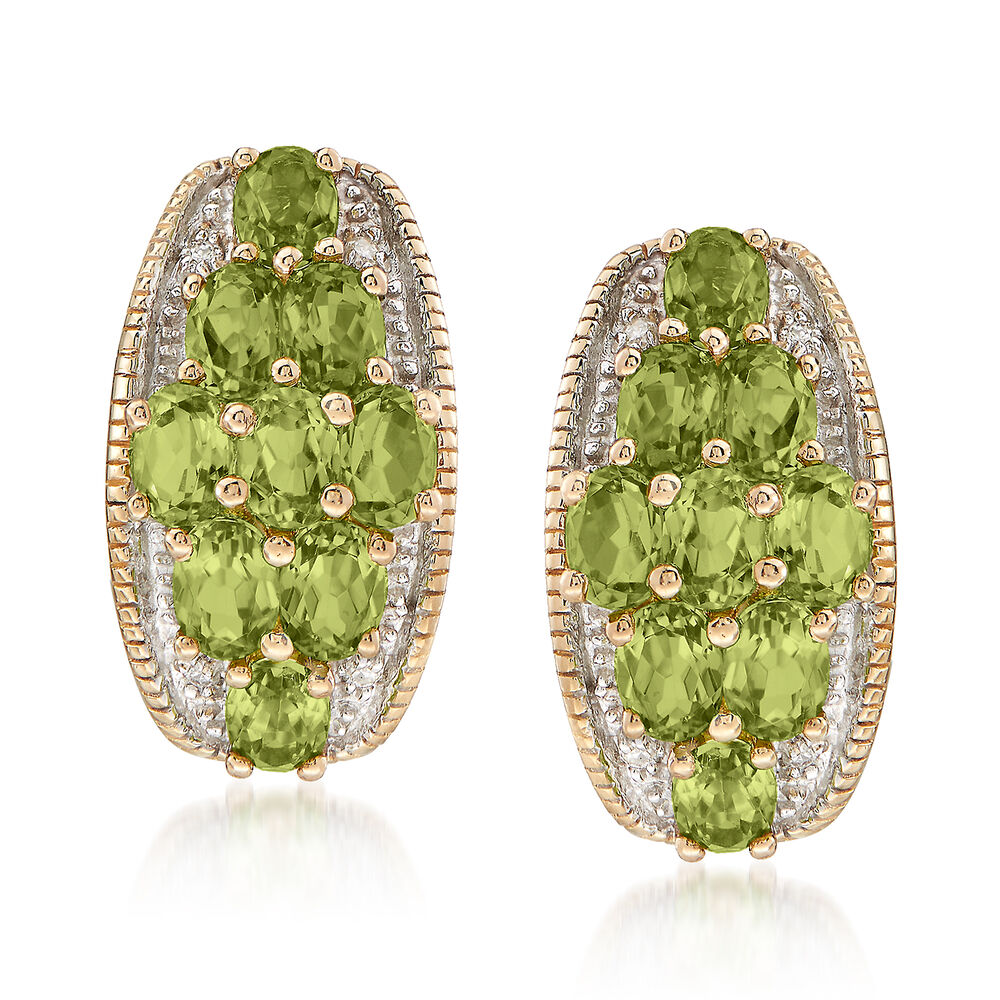 4 10 Ct T W Peridot Earrings With Diamond Accents In 14kt Yellow Gold
