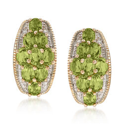 4.10 ct. t.w. Peridot Earrings With Diamond Accents in 14kt Yellow Gold, , default
