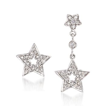 .20 ct. t.w. Diamond Star Mismatched Earrings in 14kt White Gold , , default