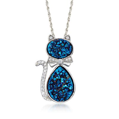 Blue Drusy and .20 ct. t.w. CZ Cat Necklace in Sterling Silver, , default