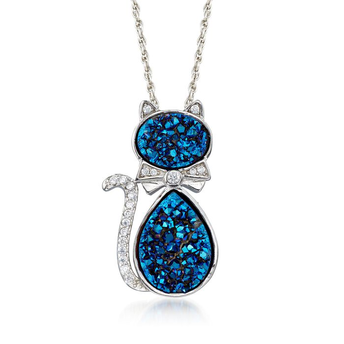 "Blue Drusy and .20 ct. t.w. CZ Cat Necklace in Sterling Silver. 18"", , default"