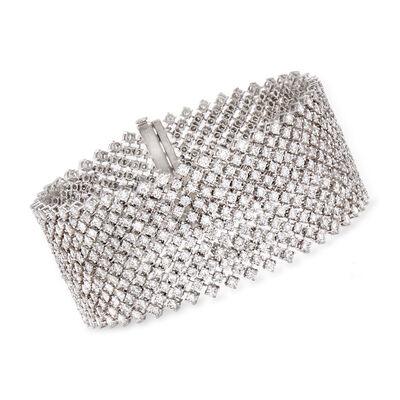 18.49 ct. t.w. Diamond Large Mesh Bracelet in 18kt White Gold, , default