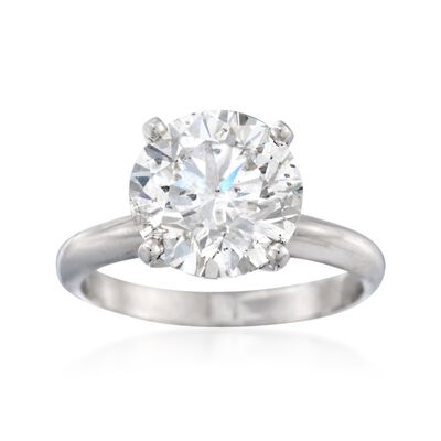4.01 Carat Certified Diamond Solitaire Ring in Platinum, , default