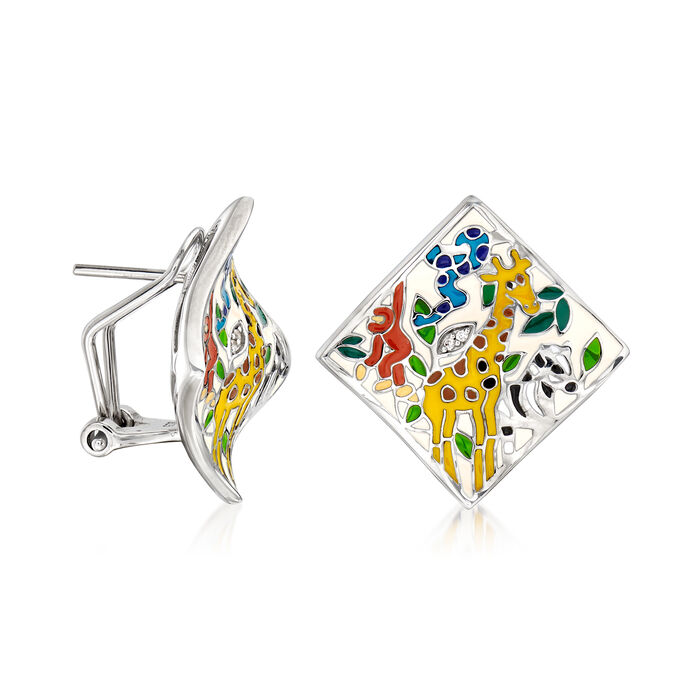 """Belle Etoile """"Serengeti"""" Ivory and Multicolored Enamel Earrings with CZ Accents in Sterling Silver"""