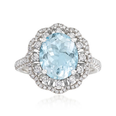 2.70 Carat Aquamarine and .74 ct. t.w. Diamond Ring in 14kt White Gold, , default