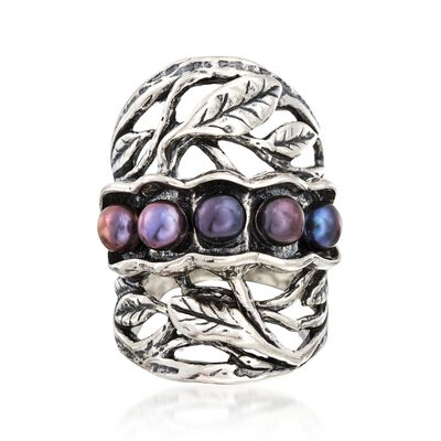 4.5-5mm Black Cultured Pearl Leaf Ring in Sterling Silver, , default