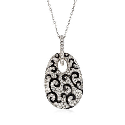 C. 1990 Vintage 5.26 ct. t.w. Diamond and Black Enamel Swirl Pendant Necklace in 18kt White Gold