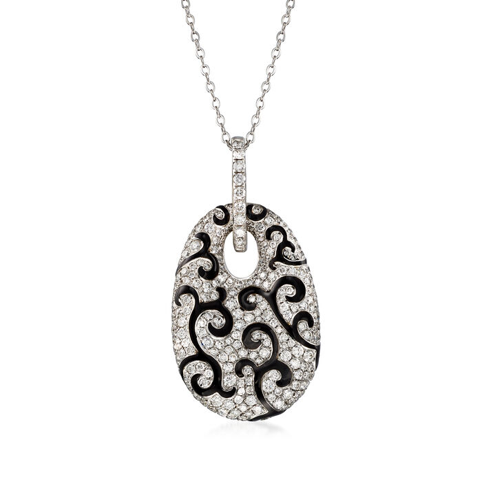 """C. 1990 Vintage 5.26 ct. t.w. Diamond and Black Enamel Swirl Pendant Necklace in 18kt White Gold. 18"""""""