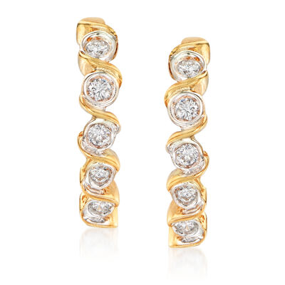 C. 1980 Vintage .60 ct. t.w. Bezel-Set Diamond J-Hoop Earrings in 14kt Yellow Gold