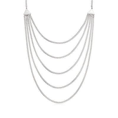Italian Sterling Silver Five-Strand Curb-Link Necklace, , default