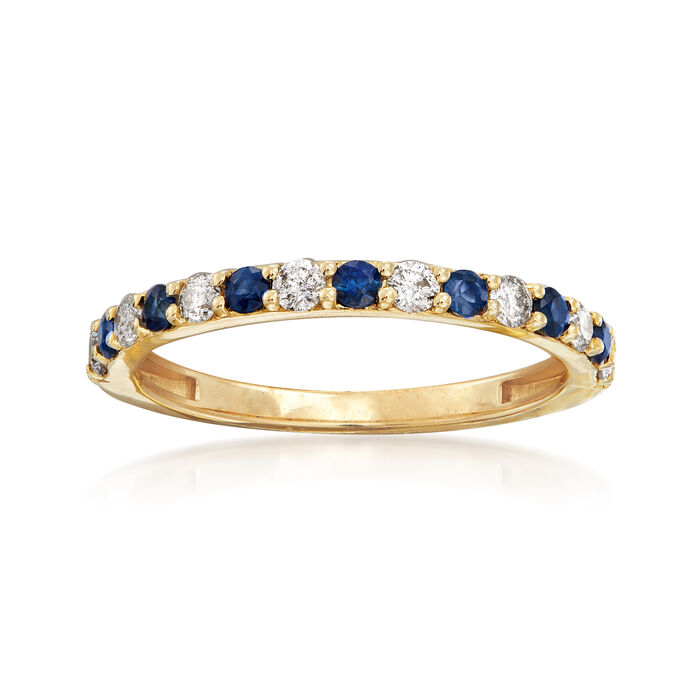 .30 ct. t.w. Sapphire and .28 ct. t.w. Diamond Ring in 14kt Yellow Gold