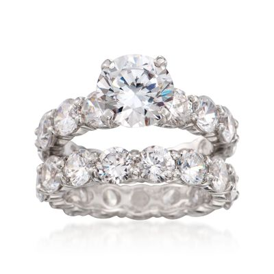14.25 ct. t.w. CZ Bridal Set: Engagement and Wedding Rings in Sterling Silver, , default