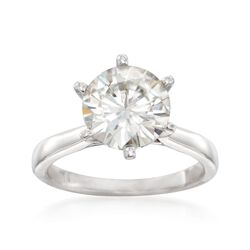 3.00 Carat Synthetic Moissanite Solitaire Ring in 14kt White Gold, , default