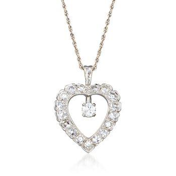 "C. 1990 Vintage 1.05 ct. t.w. Diamond Heart Pendant Necklace in 14kt White Gold. 15.5"", , default"