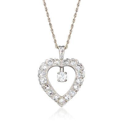 C. 1990 Vintage 1.05 ct. t.w. Diamond Heart Pendant Necklace in 14kt White Gold, , default