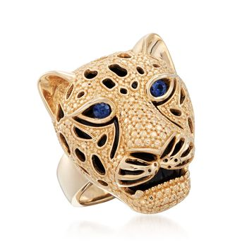 .10 ct. t.w. Sapphire and Black Onyx Cheetah Ring in 14kt Yellow Gold