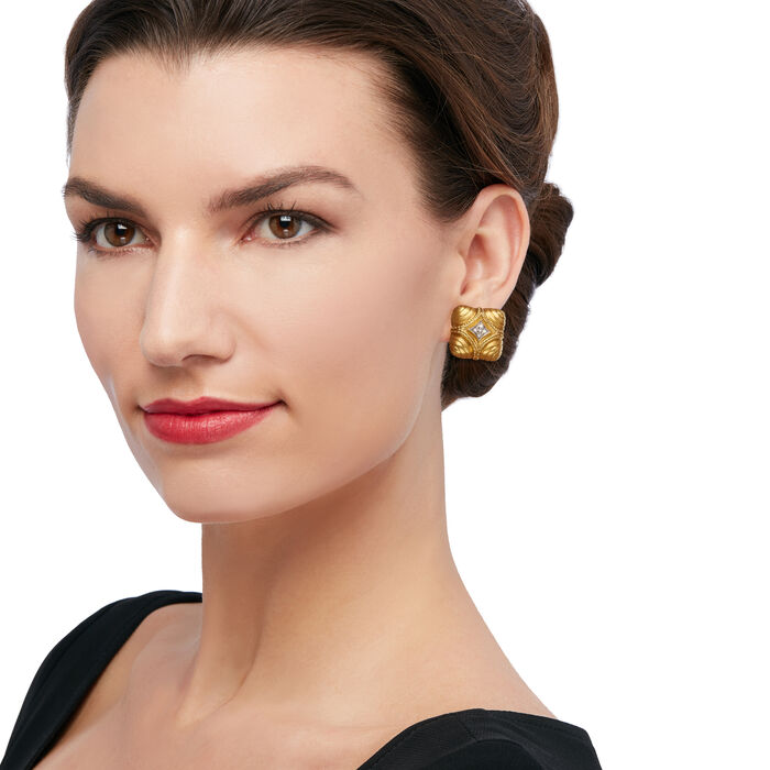 C. 1980 Vintage .20 ct. t.w. Diamond Shield Clip-On Earrings in 18kt Yellow Gold