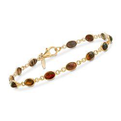 Black Opal Bracelet in 18kt Gold Over Sterling, , default