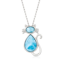 Larimar Cat Pendant Necklace in Sterling Silver, , default