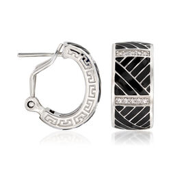 "Belle Etoile ""Laguna"" Black Enamel and .20 ct. t.w. CZ Hoop Earrings in Sterling, , default"