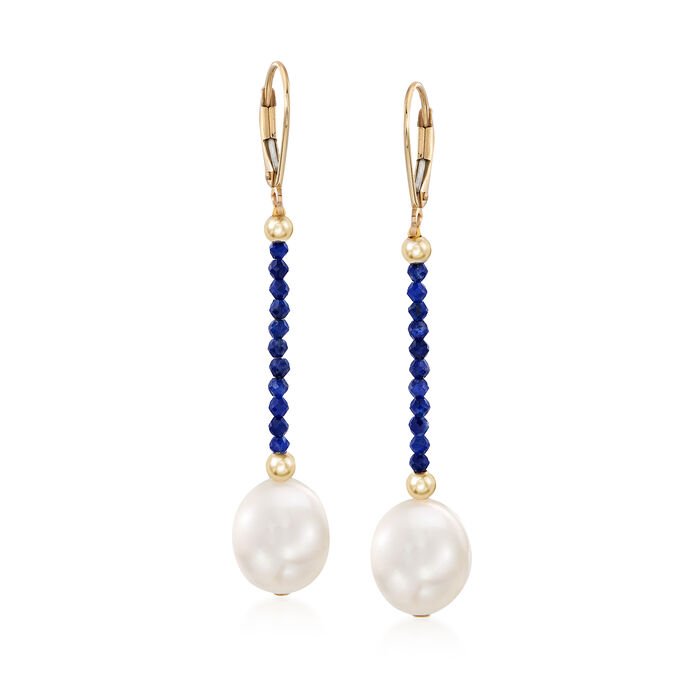 10-10.5mm Cultured Pearl and Lapis Bead Drop Earrings in 14kt Yellow Gold, , default