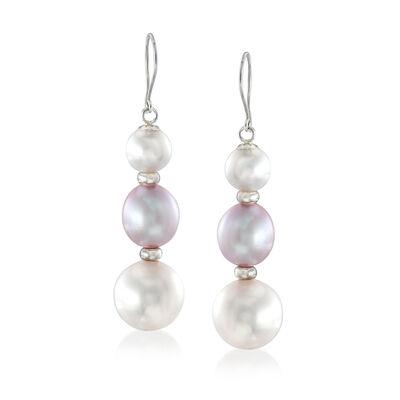 6-10mm Cultured Pearl Earrings in Sterling Silver, , default