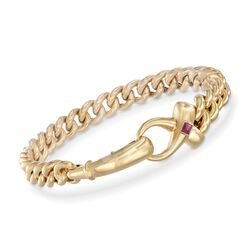 "Italian 18kt Yellow Gold Curb-Link Bracelet With Ruby. 7.5"", , default"