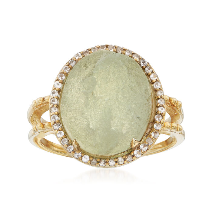 Green Prehnite and .60 ct. t.w. White Topaz Ring in 18kt Gold Over Sterling, , default
