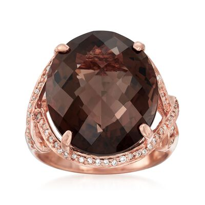 C. 1990 Vintage 15.75 Carat Smoky Quartz and .25 ct. t.w. Diamond Ring in 14kt Rose Gold, , default