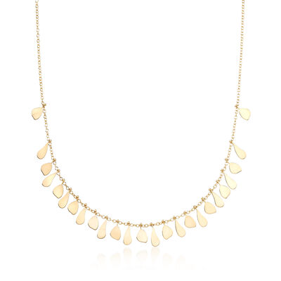 Italian 14kt Yellow Gold Graduated Drops Necklace, , default