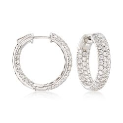 "3.00 ct. t.w. Diamond Inside-Outside Hoop Earrings in 14kt White Gold. 3/4"", , default"