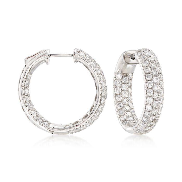 """3.00 ct. t.w. Diamond Inside-Outside Hoop Earrings in 14kt White Gold. 3/4"""", , default"""