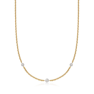 C. 1990 Vintage 1.90 ct. t.w. Pave Diamond Station Necklace in 18kt Yellow Gold, , default