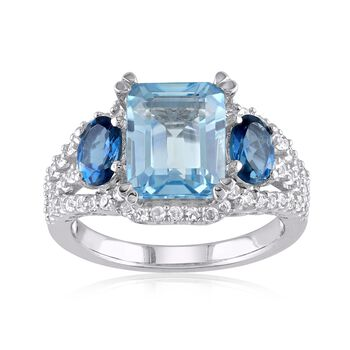 5.10 ct. t.w. London and Sky Blue Topaz and .60 ct. t.w. Synthetic White Sapphire Ring in Sterling Silver, , default