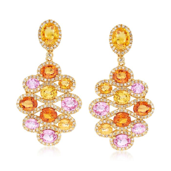 8.70 ct. t.w. Multicolored Sapphire and 1.00 ct. t.w. Diamond Drop Earrings in 18kt Yellow Gold