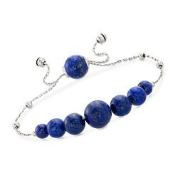 Graduated Lapis Bead Bolo Bracelet in Sterling Silver, , default